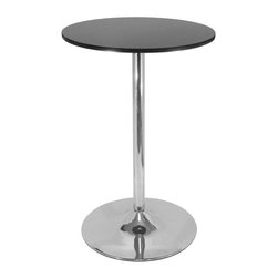 "Winsome Wood - Winsome Wood Spectrum 28 Inch Round Black Pub Table w/ Chrome Leg - 28 Inch Round Black Pub Table w/ Chrome Leg belongs to Spectrum Collection by Winsome Wood Spectrum Pub Table is designed to match the airlift stools in this line. The table top is made of sturdy MDF material and is 28"" in diameter. The base is chrome. The 40"" height is perfect for entertaining and casual dining. Ships ready to assemble with hardware and tool. Pub Table (1)"