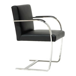 Alphaville Design - Flat Bar Canti Chair , Black Leather - Flat Bar Canti Chair is one of the greatest and most famous chairs of all time. Designed by the legendary Mies van der Rohe in Brno, Czechoslovakia, the chair is meant to reflect the simplicity of the environment.