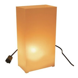 Lumabase Electric Tan Luminaria Kit - Set of 10 - Greet your guests with a warm welcome with the Lumabase Electric Tan Luminaria Kit - Set of 10.Complete kit includes: 10 weather-resistant fold-up plastic lanterns, 10 anchor stakes, one 30-ft. UL-listed electric cord with end-to-end connectors, 10 clear C7 5-Watt bulbs.About JH SpecialtiesFounded in 1989, JH Specialties originated when the company's entrepreneurs sought to redesign a bulky and messy celebration staple. Today, JH Specialties offers unique decorative Luminarias and accessories for special and seasonal occasions to event planners, neighborhoods, fundraising organizations, and retail stores. Since special occasions shouldn't be hard to plan, JH Specialties offer top-of-the-line products for unique events at a competitive price and a great value. The title of Leader in Luminarias comes from their commitment to quality and customer service.
