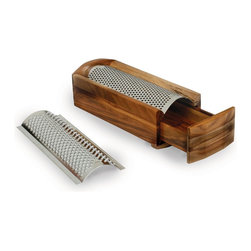 Enrico - Enrico Cheese Grater & Shredder, Acacia Wood - Comes with 2 arched stainless steel blades, one for soft cheese, one for hard cheese.