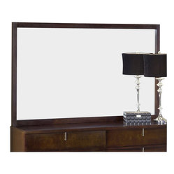 Modus Furniture Legend Wood Landscape Mirror in Chocolate Brown