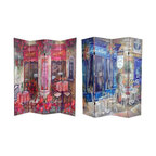 Oriental Furniture - 6 ft. Tall Double Sided Parisian Cafe Canvas Room Divider - Unique, turn of the century French street restaurants painted in a vintage style adorn each side of this screen. Both sides are stunning Paris cafes, one a lovely pink and rose, the other a bright blue. Attractive imagery and rich colors make this room divider a beautiful decorative accent for any room: living room, bedroom, dining or kitchen. Each side has a different image as shown.
