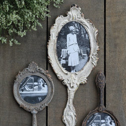 Hand Mirror Photo Frames - Mirror Mirror on the wall...these are the prettiest frames of them all! Dress up your wall with these vintage style hand mirror picture frames made from pewter metal. Three styles available in different colors and sizes.