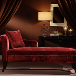 Armen Living - Patterson Maroon Chenille Chaise - Luxury abounds on this stunning rich maroon chenille chaise. Whether it's in the livingroom or bedroom it's an oasis.