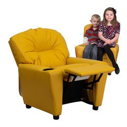 Flash Furniture - Contemporary Yellow Vinyl Kids Recliner with Cup Holder - Kids will now be able to enjoy the comfort that adults experience with a comfortable recliner that was made just for them! This chair features a strong wood frame with soft foam and then enveloped in durable vinyl upholstery for your active child. Choose from an array of colors that will best suit your child's personality or bedroom. This petite sized recliner will not disappoint with the added cup holder feature in the armrest that is sure to make your child feel like a big kid!