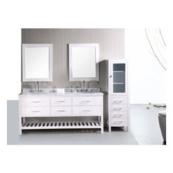 "Design Element - Design Element London 72"" Double Bathroom Vanity with Open Bottom - Pearl White - The London 72"" Double Sink Vanity Cabinet, constructed with solid wood, provides a contemporary design perfect for any bathroom remodel. The ample storage in this free-standing vanity includes two flip-down shelves and four fully functional drawers each accented with brushed nickel hardware as well as an open shelf at the base of the cabinet. This vanity cabinet is available in an espresso or white finish. You have the option to add a White Carrera Marble Countertop with white porcelain sinks, pop-up drains and matching mirrors to make your own complete bathroom vanity set.  Features Solid wood cabinet Four large drawers, two center drawers, satin nickel finish hardware. Available as a Vanity Set including: White Carrera Marble Countertop, White Porcelain Sink, Pop up Drain, Matching Mirror Faucet(s) not included Manufacturer provides 1 year warranty How to handle your counterManualView Spec Sheet"