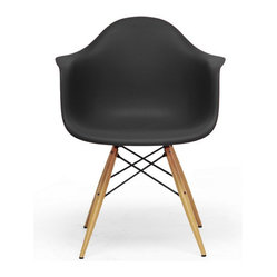 Black Plastic Mid-Century Modern Shell Chair (set of 2)