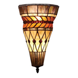 Elk Lighting - Elk Lighting Glass Leaf Contemporary Tiffany Wall Sconce X-2-48007 - The Glass Leaf Collection has a strikingly beautiful pattern of brown and olive tones. This contemporary Tiffany Wall Sconce has a band of bright amber autumn leaves dancing around the cylindrical shape of the shade. Hues of heather, green and deep purple roundabout the tops and bottoms with the center having beige triangle and diamond panels of glass accented by ruby red glass beads. The hand finish of Tiffany Bronze and the neutral tones blend with a myriad of room settings.