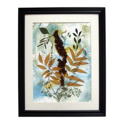 "Grace Of Nature, Osibana Art - Oshibana (pressed plants) artwork in a 16"" x 20"" black frame."