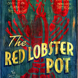 Red Horse Signs - Nostalgic Vintage SignsPrimitive Red Lobster Restaurant Sign - Nostalgic  Vintage  Signs-  Primitive  Red  Lobster  Restaurant  Sign          Customize  our  nostalgic  vintage  Lobster  Pot  sign  with  your  favorite  location  to  create  a  truly  unique  display  for  kitchen,  patio  or  rec  room.  Printed  directly  to  distressed  wood  with  all  the  imperfections  of  weathered  wood,  this  sign  is  14x28.   You  don't  have  to  live  on  the  Gulf  to  create  that  New  Orleans  feel.  Beautiful  distinct  colors  make  this  nostalgic  sign  a  real  crowd-pleaser.  Lettering  is  customizable.  A  $15  fee  applies  for  custom  changes.  Allow  two  -  three  weeks  delivery  time.