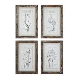 Grasses Framed Art Set of 4 - *Prints Are Accented By Dark Taupe, Open Weave, Linen Mats Then Surrounded By Reclaimed Wood Frames With A Medium Brown Base Coat With Slate Blue And Taupe Paint Distressing. Prints Are Under Glass.