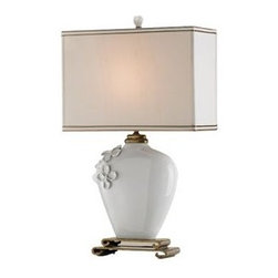 Currey & Company - Minuet Table Lamp by Currey & Company - The Currey & Company Minuet Table Lamp is an exclusive showstopper and a great luminaire. The Minuet Table Lamp features a Cream Silk shade, porcelain and Brass body in White finish.Currey & Company creates history by acknowledging traditions from the past and by producing rare and enduring innovative products.The Currey & Company Minuet Table Lamp is available with the following:Included Features: One rectangle-shaped, Cream Silk shade with gold lining and combination trim.Porcelain and brass body.Handmade porcelain flower appliques.White finish.3-way switch.UL Listed.Lighting: One 75 Watt 120 Volt Type A Medium Base Incandescent lamp (not included).Shipping:This item usually ships within three- to five business days.