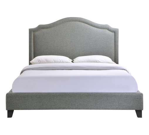 LexMod - Charlotte Queen Bed Frame in Gray - Powerful lines complement soft hues with this bed ensconced in whispered elegance. Luxuriously crafted with a nail head decorative trim and tufting, Charlotte is a bedroom centerpiece that imbues elegance, while bestowing a gentle flow over your surroundings.