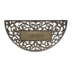"""Frontgate - Personalized Filligree Arch Entry Mat - Our Personalized Filigree Arch Entry Mat, hand-crafted of rust-free cast aluminum, is an elegant addition to your home's front entrance. The beautifully carved filigree design will enhance your doorstep and welcome your guests with distinctive style. Personalize with up to fifteen 2"""" characters. Please note, personalized items cannot be returned. Made in USA."""