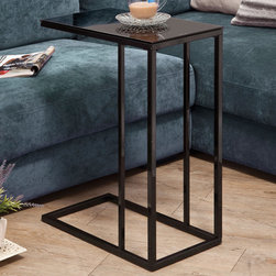 Coaster - Snack Table, Black - Clean lines and a simple design with a black tempered glass top and black base.