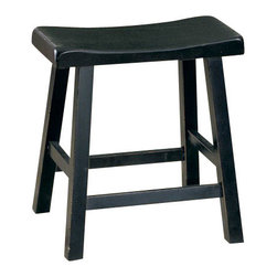 Homelegance - Homelegance Saddleback 24 Inch Stool - Cherry - A space apart from the hustle and bustle of today's hectic lives, this gathering height table with four saddle back stools are designed for you to enjoy a good meal with or without your friends and families. Available in three finishes: Black sand-through finish, warm cherry finish, and oak finish.