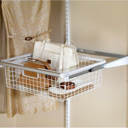 """Rubbermaid - Rubbermaid Configurations White Sliding Basket - FG3J0503WHT - 2180-4562 - Shop for Closet from Hayneedle.com! An awful lot of stuff goes into a closet and it doesn't all belong on a hanger. For those abundant and ever-so necessary items there's the Rubbermaid Configurations White Sliding Basket - FG3J0503WHT. This wire basket with white finish creates visible drawer space that glides smoothly in and out to save space while creating ample storage. It's easy to install and fits every Rubbermaid Configurations kit. You'll always know what's stored away and enjoy the easy to adjust design of this unique sliding basket.About RubbermaidRubbermaid represents innovative high-quality products that make life a little simpler. Starting with housewares Rubbermaid has expanding into various areas including home and garden and commercial products. Rubbermaid has been recognized as a """"Brand of the Century"""" and is one of only 100 companies named as having an impact on the American way of life. Headquartered in Atlanta GA. Rubbermaid can be found almost anywhere from grocery stores to hardware stores to your own kitchen.Being involved in the local community is a cornerstone of the Rubbermaid company and they continually invest in programs that matter to employees and enrich the lives of everyone from child to adult."""