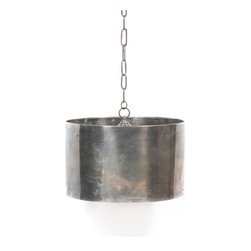 Go Home - Industrial Steel Drum Pendant - Envision this hip and trendy light fixture hanging over one of our magnificent tables surrounded by our linen-covered chairs. Beautifully crafted from brass with an antique-nickel finish, this striking light fixture is the essence of urban chic!
