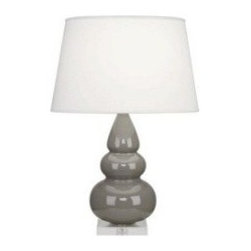 Robert Abbey Small Triple Gourd One-Light Table Lamp - This Robert Abbey triple gourd lamp in gray is perfect in pairs for an entryway table, console table or bedside tables.