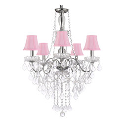 Elegant 5 Light Crystal Chandelier Pendant Lighting Fixture Light Lamp with Pink - This beautiful Chandelier is trimmed with Empress Crystal(TM). Item must be hardwired. Professional installation is recommended. Requires (5) 40 watt bulbs- not included.