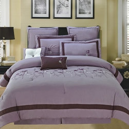 Bed In A Bag - 12pc Luxury Bed in a Bag- Spring Hill Violet/ Purple- Queen - This set showcases a flower design on a soft color background that evokes the essence of natural beauty with a purely modern allure. Please select sheet shet color when ordering. 100% Polyester, Machine Washable