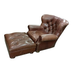 """Used Vintage Ralph Lauren Leather Chair with Ottoman - An exceptionally beautiful and highly sought after vintage Ralph Lauren leather writer's chair having a tufted back on loose cushion seat all raised on bun feet with matching ottoman. Ralph Lauren is known for classic American style in the fashion and home categories, including iconic creations such as this writer's chair. This elegant piece features supple, weathered Burnished Mahogany leather with a tufted back highlighted with classic bronze nail head detail and bun feet in mahogany. A coordinating tufted ottoman completes this masculine look and adds an extra layer of comfort ideal for a study.     So go ahead and write the next great American novel. All that's missing from this tableau is a fireplace, a Golden Retriever and a hound's tooth wool throw.     Chair Approximate Dimensions:  W41â€ù x D41â€ù x H37â€ù  Arm height 22â€ù  Seat height 18â€ù  Sitting depth 25â€ù  Arm width 8 1/2""""  Between arms 21â€ù    Ottoman Approximate Dimensions:  W27â€ù x D32â€ù x H16â€ù"""