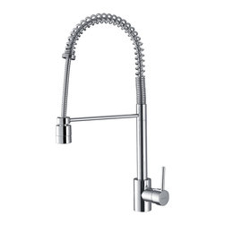 Ruvati - Ruvati Polished Chrome Commercial Style Pullout Spray Kitchen Faucet - Make cleanup a breeze with this handy pull-out kitchen faucet from Ruvati. Featuring a gorgeous polished-chrome finish,this faucet is a beautiful,practical addition to any kitchen. This faucet is styled after commercial restaurant faucets.