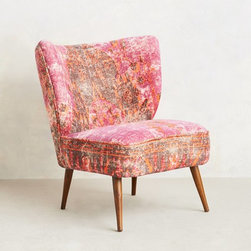 Moresque Chair, Raspberry - Maybe spring and summer aren't the seasons you associate with adding in some velvet. But listen, I am an equal-opportunity velvet lover. I love it all the time, anytime — especially if it is as unusual and lovely as this chair.