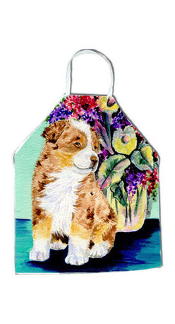 Caroline's Treasures - Australian Shepherd Apron SS8312APRON - Apron, Bib Style, 27 in H x 31 in W; 100 percent  Ultra Spun Poly, White, braided nylon tie straps, sewn cloth neckband. These bib style aprons are not just for cooking - they are also great for cleaning, gardening, art projects, and other activities, too!