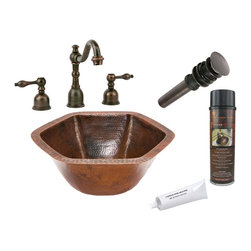 Premier Copper Products - Hexagon Under Counter Sink w/ ORB Faucet - PACKAGE INCLUDES: