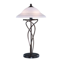 Lite Source - Majesty Table Lamp in Dark Bronze Finish w Cloud Glass Shade - Incandescent bulb sold separately. UL approved. 1-Year warranty. Bulb type/watt: A/60. Shade dimension: 0.5 in. L x 16 in. W x 5.5 in. H. Lamp dimension: 16 in. W x 28.5 in. H (13.4 lbs.). Product Installation Instructions