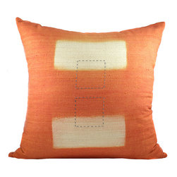 BZDesign - Orange Hand Embroidered Silk Pillow - This simply elegant silk pillow will easily fit into any contemporary setting!
