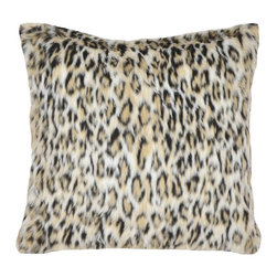 None - Leopard Faux Fur 18-inch Throw Pillow - Expertly woven from luxurious yarns in rich tones of brown,this unique faux fur throw pillow provides the comfort and softness of genuine fur. Versatile reversibility and neutral colors add decorative flair to any bedroom decor.