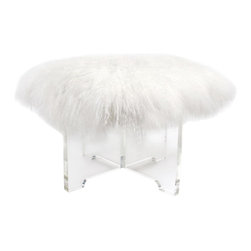 Jonathan Adler Mongolian Lamb Bench - Now you can go out of March like a very glam lamb! I would love to have this beauty parked beneath my bathroom vanity.