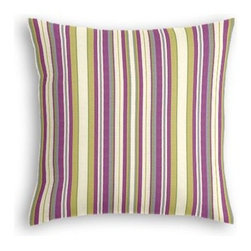 Purple & Green Stripe Custom Throw Pillow - The every-style accent pillow: this Simple Throw Pillow works in any space.  Perfectly cut to be extra fluffy, you'll not only love admiring it from afar but snuggling up to it too! We love it in this purple and green woven stripe that can be as traditional as it is trendy.