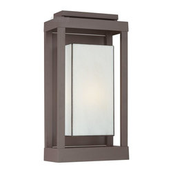 Quoizel - Quoizel QZ-PWL8311WT Powell Transitional Outdoor Wall Sconce - Large - Enhance the exterior of your home with this unique and unadorned Powell collection. The shadowbox is striking in a western bronze finish and is contrasted beautifully by the rectangular white art glass.