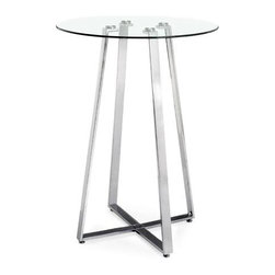 """Zuo Modern - Clear Tempered Glass Top Bar Table w Chrome F - The Clear Tempered Glass Top Bar Table with Chrome Frame displays clean contemporary styling that will enhance any entertainment setting!  This impressive bar table features a 32 inch diameter clear tempered glass top supported by a chrome plated steel tube frame. * Chrome Plated Steel Tube Frame. Clear Tempered Glass Top. LxWxH: 32""""x32""""x43"""". Weight: 75 lbs.Zuo Modern Lemon Drop Bar Table"""