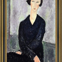 """Art MegaMart - Amedeo Modigliani The Black Dress - 16"""" x 24"""" Framed Premium Canvas Print - 16"""" x 24"""" Amedeo Modigliani The Black Dress framed premium canvas print reproduced to meet museum quality standards. Our Museum quality canvas prints are produced using high-precision print technology for a more accurate reproduction printed on high quality canvas with fade-resistant, archival inks. Our progressive business model allows us to offer works of art to you at the best wholesale pricing, significantly less than art gallery prices, affordable to all. This artwork is hand stretched onto wooden stretcher bars, then mounted into our 3 3/4"""" wide gold finish frame with black panel by one of our expert framers. Our framed canvas print comes with hardware, ready to hang on your wall.  We present a comprehensive collection of exceptional canvas art reproductions by Amedeo Modigliani."""