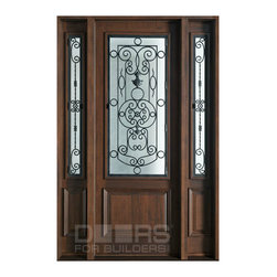 Heritage Collection (Custom Solid Wood Doors) - Custom Front Entry Door -  Single with 2 Sidelites - Heritage Collection - Doors For Builders Inc.