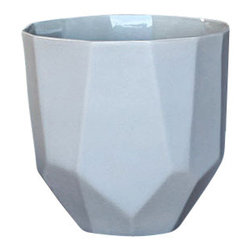 Quartz Faceted Ceramic Cup - Small - 3 x 3.5 - Simply elegant with a touch of flair, the Quartz Faceted Ceramic Collection is comprised of your choice of small or large cups, or three sizes of bowls that can be used for a variety of uses including planters, office supply holders, kitchen accessories or whatever creative use you can dream up. Their faceted shapes make them unique and artsy and their soft gray coloring gives them a luxurious feel.