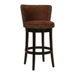 """Armen Living - Armen Living Lisbon 30 in. Contoured Back Bar Stool with Leopard Print - Espress - Shop for Stools from Hayneedle.com! Make girls' night out a night in by stocking your home bar with Armen Living 30-Inch Lisbon Contoured Back Bar Stool with Leopard Print - Espresso. Guests can lounge for hours in these incredibly comfortable chairs which feature generous padding and tall curved backs for extra support. The seats are covered with easy-to-clean two-tone microfiber mostly brown with a leopard-print trim for the right touch of exotic sophistication. The solid wood frame and legs are finished in espresso to complete the contemporary look. The seats can swivel 360 degrees so you can turn to face each other as you share the latest gossip.The Lisbon also comes in a coordinating Counter Height stool please view """"Related Items"""". Please note: This item is not intended for commercial use. Warranty applies to residential use only.About Armen LivingImagine furniture without limits - youthful robust refined exuding self-expression at every angle. These are the tenets Armen Living's designers abide by when creating their modern furniture collections. Building on more than 30 years of industry experience Armen Living combines functional versatility and expert craftsmanship into their dramatic furniture styles all offered at price points fit for discriminating budgets. Product categories include bar stools club chairs dining tables ottomans sofas and more. Armen Living is based in Sun Valley Calif."""