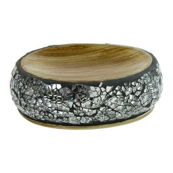 Gedy - Round Grey-Silver Soap Holder - Round decorated silver/grey vanity soap holder. Soap holder made in pottery, stainless steel, and glass. Silver finish. From the Gedy Myosotis collection.
