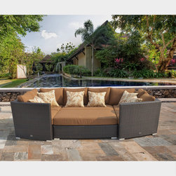 Sirio - Sirio Batavia 6-piece Outdoor Furniture Set with 6 Pillows - This Sirio Batavia outdoor furniture set features four corner chairs, a love seat and an ottoman to easily and conveniently fit whatever space is available. The cushions are covered in reliable and durable Sunbrella fabric.