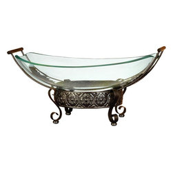"Benzara - Glass Bowl Metal Stand with Round Metallic Structure - If you are looking for best value of your money invested for home decor, bring home 72257 Glass BOWL Metal STAND that has great utility decor potential for each family. It can be placed anywhere in any room, porch or waiting lounges. Get ready to impress the guests by serving the specials in style.; Material: Quality thick glass bowl over beautifully sculptured round four leg round metallic structure; Color: Ultimate example of modern furniture art, Brown; Deep round shaped bowl; Smoothen edges; Designed for decor enthusiasts; A party decor accent; Dimensions: 7.87""H x 19.29""W x 19.29""D (min. aprox. dimensions)"