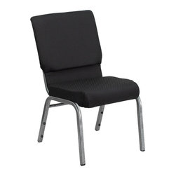 Flash Furniture - Hercules Series 18.5'' Wide Black Patterned with 4.25'' Thick Seat - This Hercules Series Church Chair will add elegance and class to any Church, Hotel, Banquet Room or Conference setting. If you are looking for a chair with comfort and style that is easy to move and stores away with ease, then look no further. This built to last chair has a 16-gauge steel frame that has been tested to hold 600 lbs. This church chair features double support bracing, ganging clamps, a cushion that graduates to a 4.25'' thick waterfall edge and plastic floor glides to protect non-carpeted floors. Our church chair is manufactured by one of the most reputable stack chair manufacturers in the industry, you can be assured of the quality of this chair offered to you.