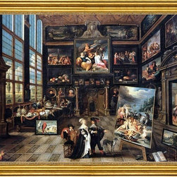 """Cornelis De Baellieur-18""""x24"""" Framed Canvas - 18"""" x 24"""" Cornelis De Baellieur Interior of a Collector's Gallery of Paintings and Objects d'Art framed premium canvas print reproduced to meet museum quality standards. Our museum quality canvas prints are produced using high-precision print technology for a more accurate reproduction printed on high quality canvas with fade-resistant, archival inks. Our progressive business model allows us to offer works of art to you at the best wholesale pricing, significantly less than art gallery prices, affordable to all. This artwork is hand stretched onto wooden stretcher bars, then mounted into our 3"""" wide gold finish frame with black panel by one of our expert framers. Our framed canvas print comes with hardware, ready to hang on your wall.  We present a comprehensive collection of exceptional canvas art reproductions by Cornelis De Baellieur."""