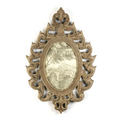 Wooden Picture Frame - 13.75 x 10.25 - Elaborately carved birch wood whimsically surround your favorite photo or print, bringing an air of lightness to the room, with Zentiques unusually beautiful wooden photo frame. Gracefully hung in a powder room or bedroom, this natural frames ornate carvings are both playful and delicate.