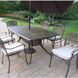 Oakland Living Oxford Mississippi Aluminum Patio Dining Set with Tilting Umbrell - Spend time outdoors this summer watching your kids play, getting some work done, or enjoying time with friends while seated at the Oakland Living Oxford Mississippi Cast Aluminum Patio Dining Set with Tilting Umbrella and Stand. Crafted from rust-free, hand-cast aluminum with a beautiful hardened powder coat finish in antique bronze, the chairs and table are fade-, chip-, and crack-resistant. The antique bronze finish accents the contemporary style of the set adding a classic touch. A gorgeous addition to your patio or deck, you'll love the cushions which contrast wonderfully with the finish of the chairs. Protect yourself and your guests from the sun with the tilt umbrella which is easy to move so you don't have to limit your time outdoors. Perfect for entertaining, this table seats up to six people. Invite your family over to enjoy grilling outdoors, or have some friends bring some appetizers and drinks and enjoy a night outdoors relaxing and having fun.Additional FeaturesTilt umbrella protects you from the sunUmbrella hole in the center of the tableSome assembly required1-year limited warranty