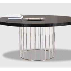 Caulfield Dining Table - This stunning contemporary table combines a glossy wood top and a sculptural chrome base. It's contemporary and a conversation starter in more ways than one; not only will people be dropping their jaws over its style, they'll have an easier time chatting in the round.