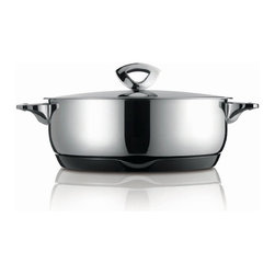 Kuhn Rikon - Kuhn Rikon Durotherm Swiss Thermal Cookware Braising Pan, 4.75 qt. - Swiss precision work, technology and design are combined in these double walled thermal cookware from Kuhn Rikon. The new stay-cold handles and the practical magnetic heat-retaining base made from melamine bring the product to the state of the art with regard to quality.